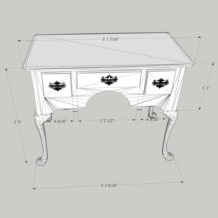 Queen Anne Lowboy royalty-free 3d model - Preview no. 7