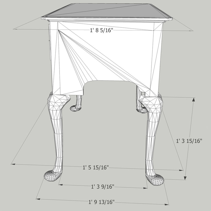 Queen Anne Lowboy royalty-free 3d model - Preview no. 8