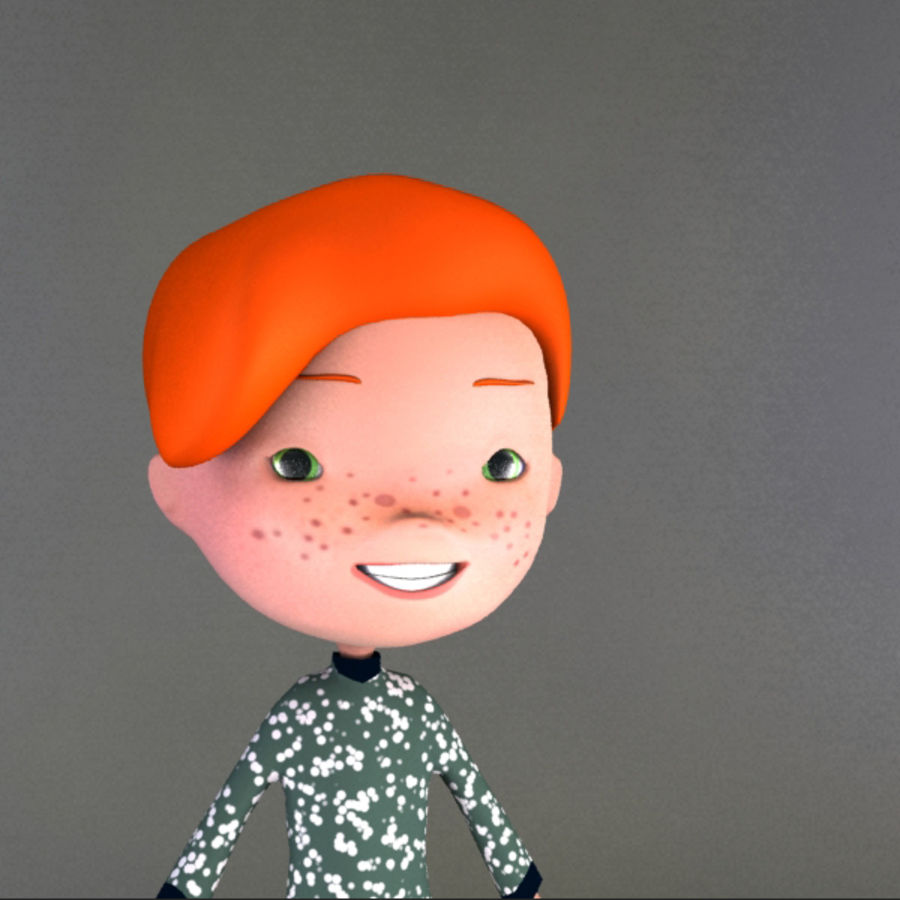 Cartoon boy Jeremiah royalty-free 3d model - Preview no. 4