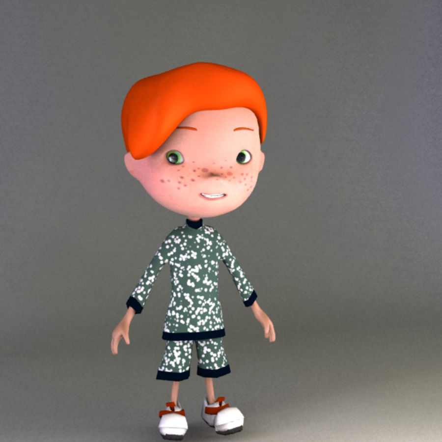 Cartoon boy Jeremiah royalty-free 3d model - Preview no. 2