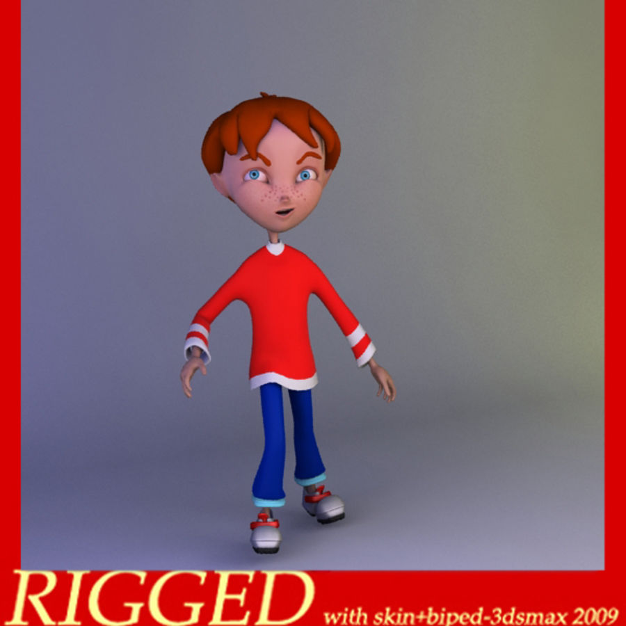 carton boy Alessandro royalty-free 3d model - Preview no. 1