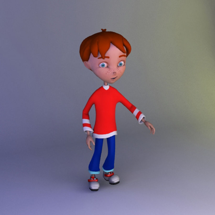 carton boy Alessandro royalty-free 3d model - Preview no. 3