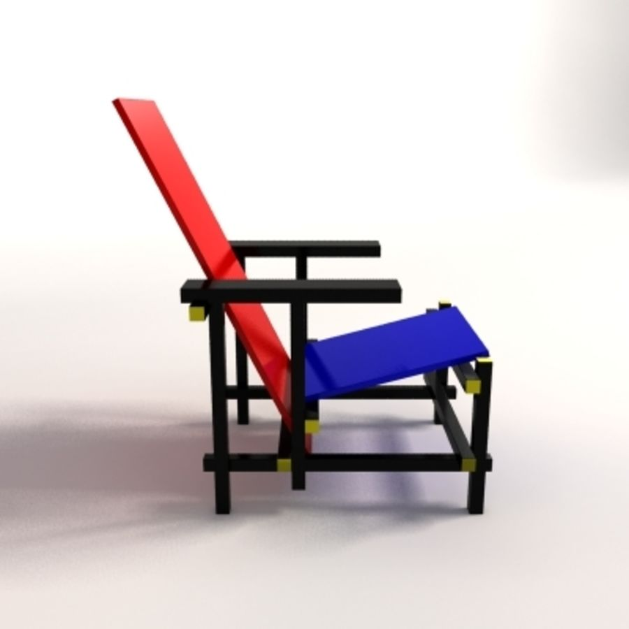 Gerrit Thomas Rietveld Red U0026 Blue Lounge Chair Royalty Free 3d Model    Preview No