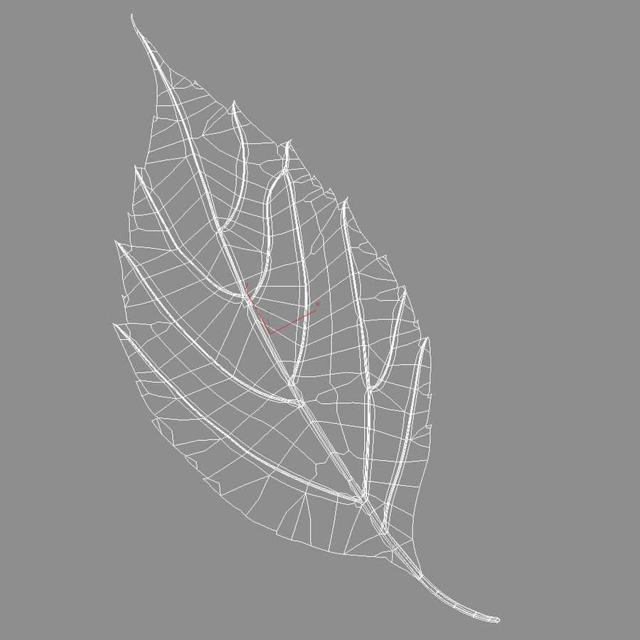 Autumn leaf red royalty-free 3d model - Preview no. 10