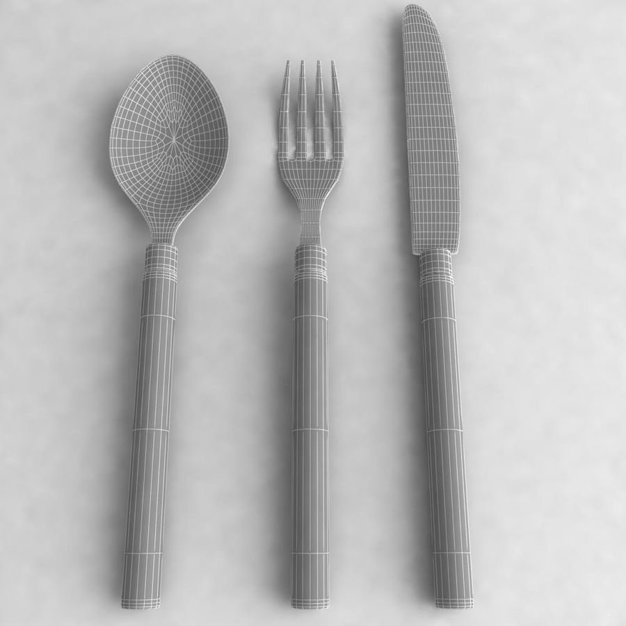 Knife-Spoon- Fork royalty-free 3d model - Preview no. 5