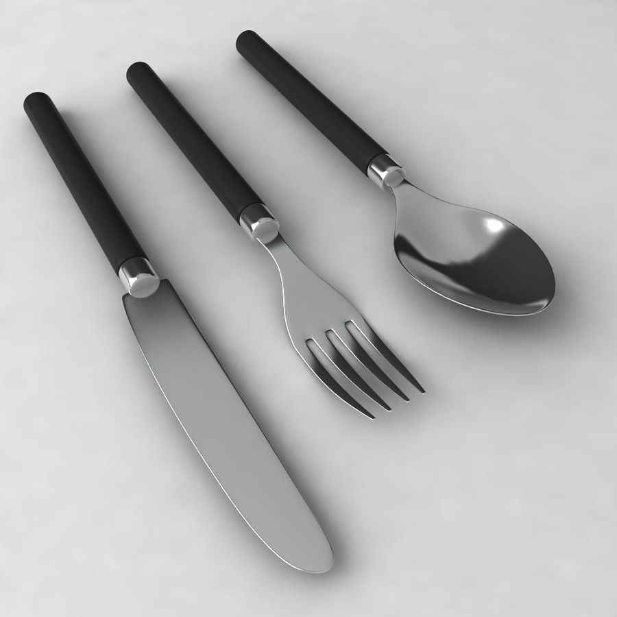 Knife-Spoon- Fork royalty-free 3d model - Preview no. 3