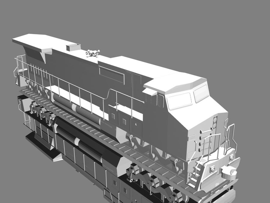 GE C41-8 locomotief royalty-free 3d model - Preview no. 13