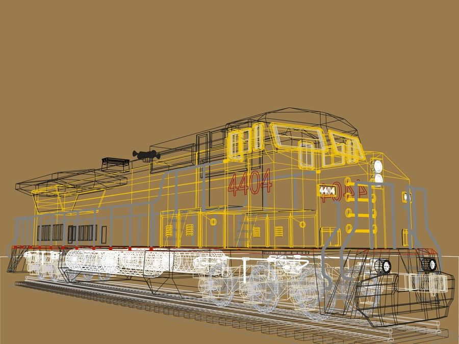 GE C41-8 locomotief royalty-free 3d model - Preview no. 11