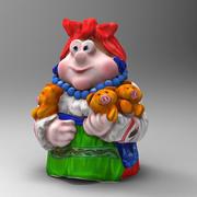Mujer y cerdo modelo 3d