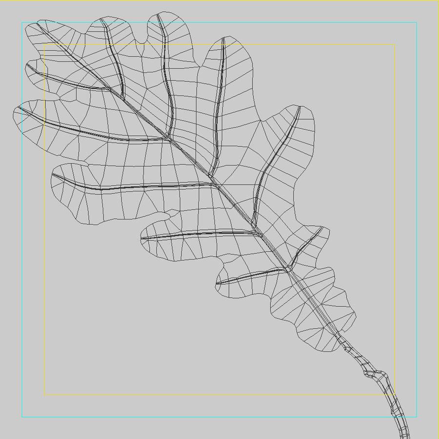Autumn leaf oak royalty-free 3d model - Preview no. 8