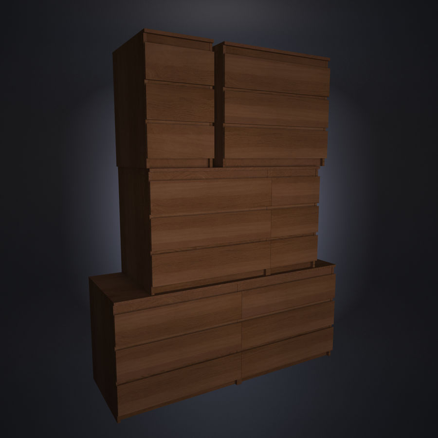 IKEA MALM Kit royalty-free 3d model - Preview no. 4