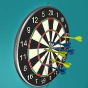 Dart Board and Darts 3d model