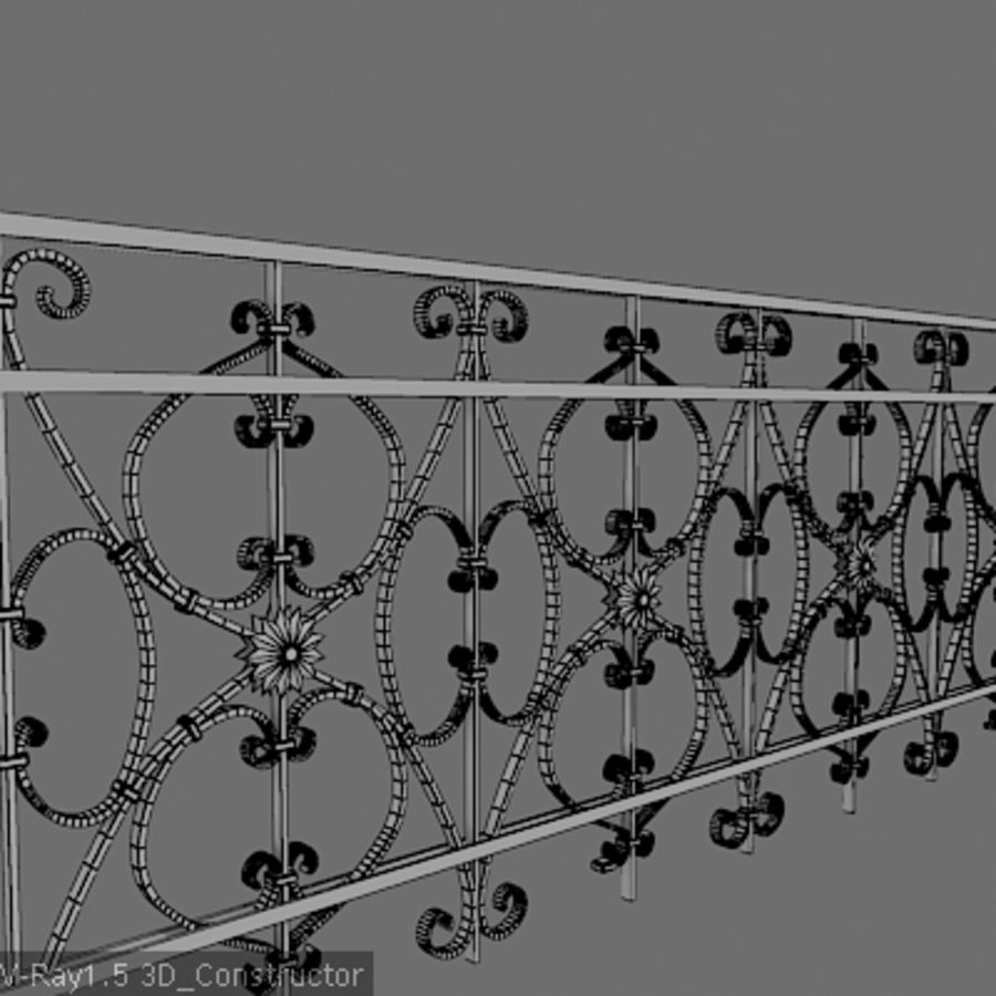 Ornamental railing royalty-free 3d model - Preview no. 3