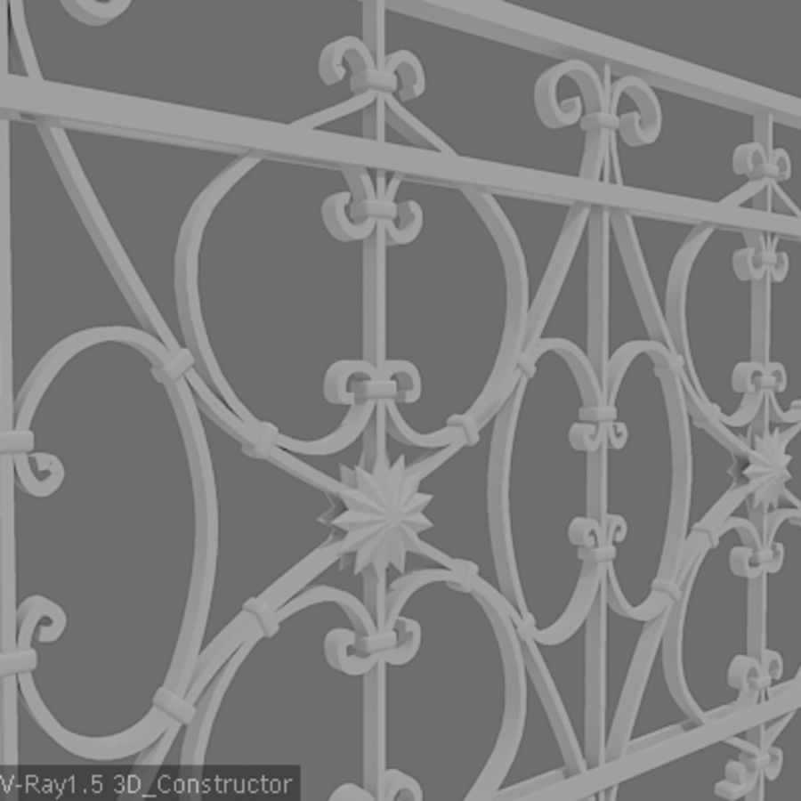 Ornamental railing royalty-free 3d model - Preview no. 2