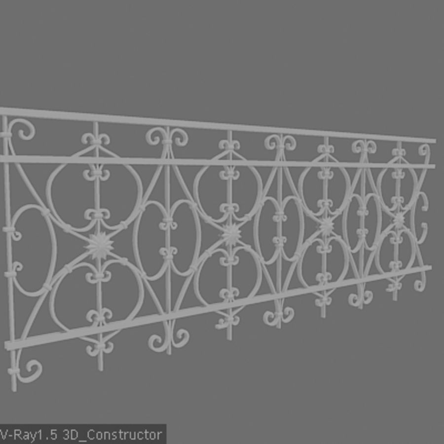 Ornamental railing royalty-free 3d model - Preview no. 1