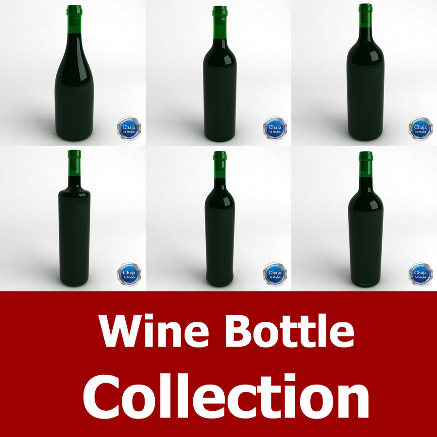 Wine Bottle Collection royalty-free 3d model - Preview no. 1