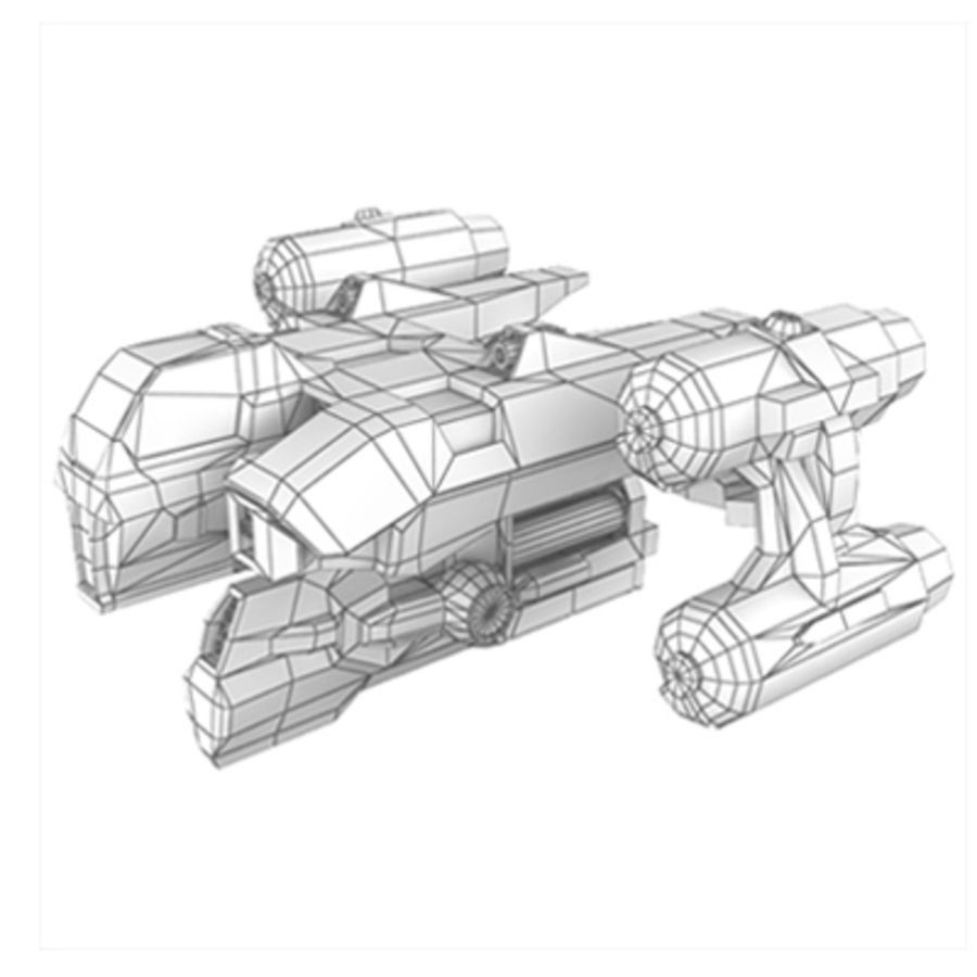 Sci Fi Spaceship - Spacecraft / Aircraft royalty-free 3d model - Preview no. 3