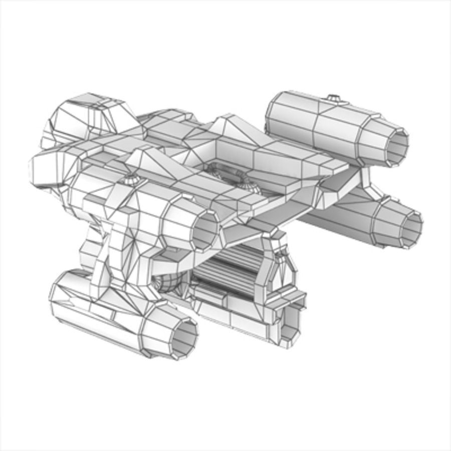 Sci Fi Spaceship - Spacecraft / Aircraft royalty-free 3d model - Preview no. 6