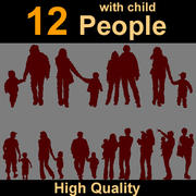 Human Silhouettes with child 3d model