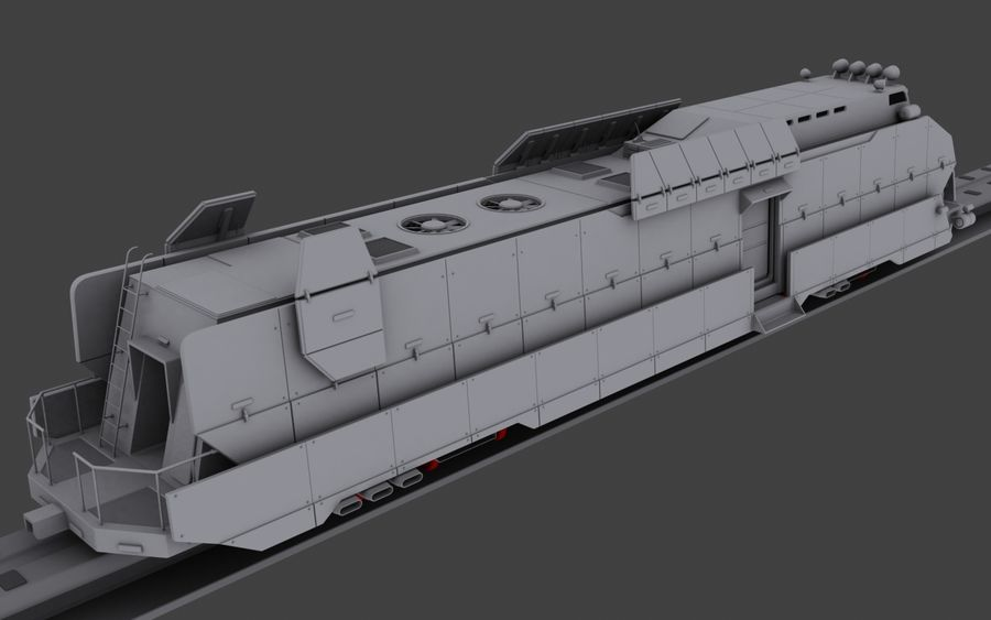 Maglev Armored Train V1 royalty-free 3d model - Preview no. 9