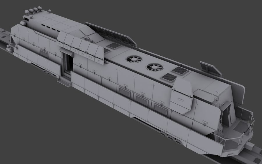 Maglev Armored Train V1 royalty-free 3d model - Preview no. 7
