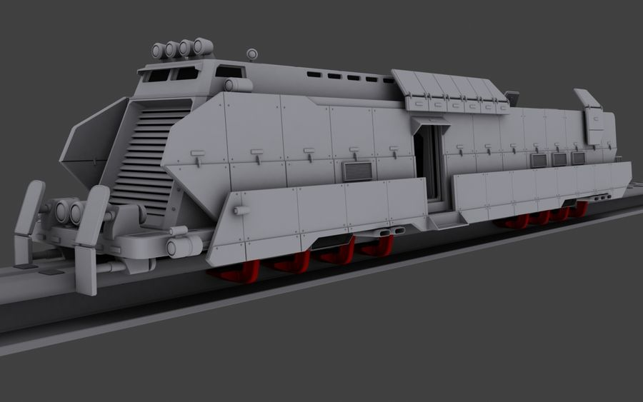 Maglev Armored Train V1 royalty-free 3d model - Preview no. 3