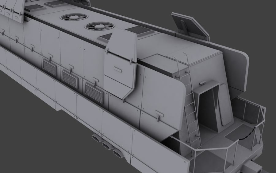 Maglev Armored Train V1 royalty-free 3d model - Preview no. 6