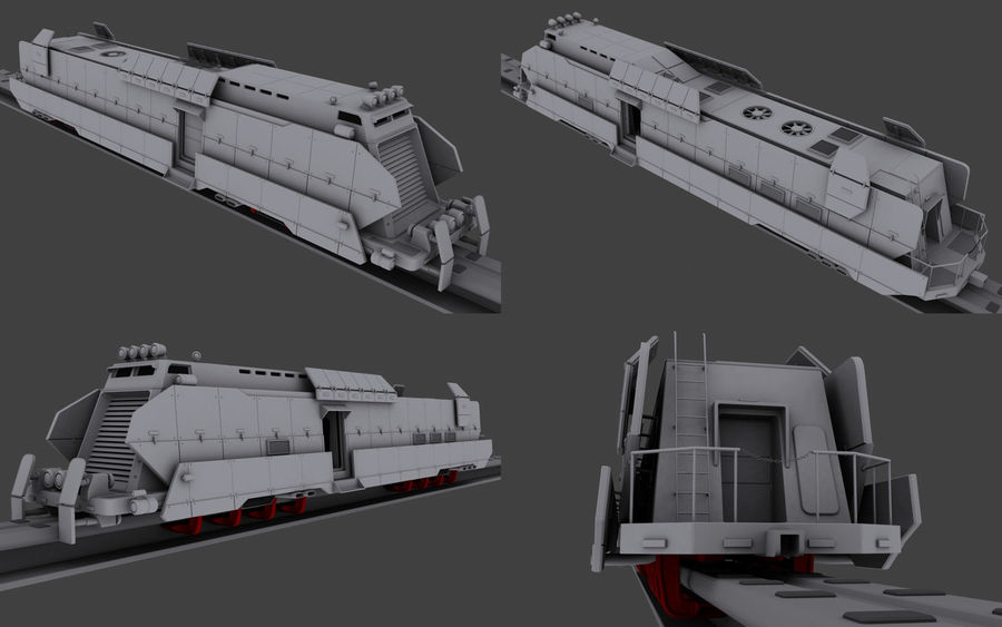 Maglev Armored Train V1 royalty-free 3d model - Preview no. 1