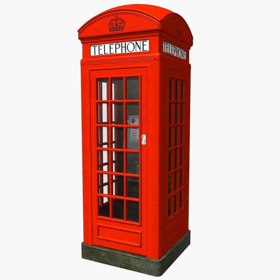 London Phone Kiosk(1) royalty-free 3d model - Preview no. 1