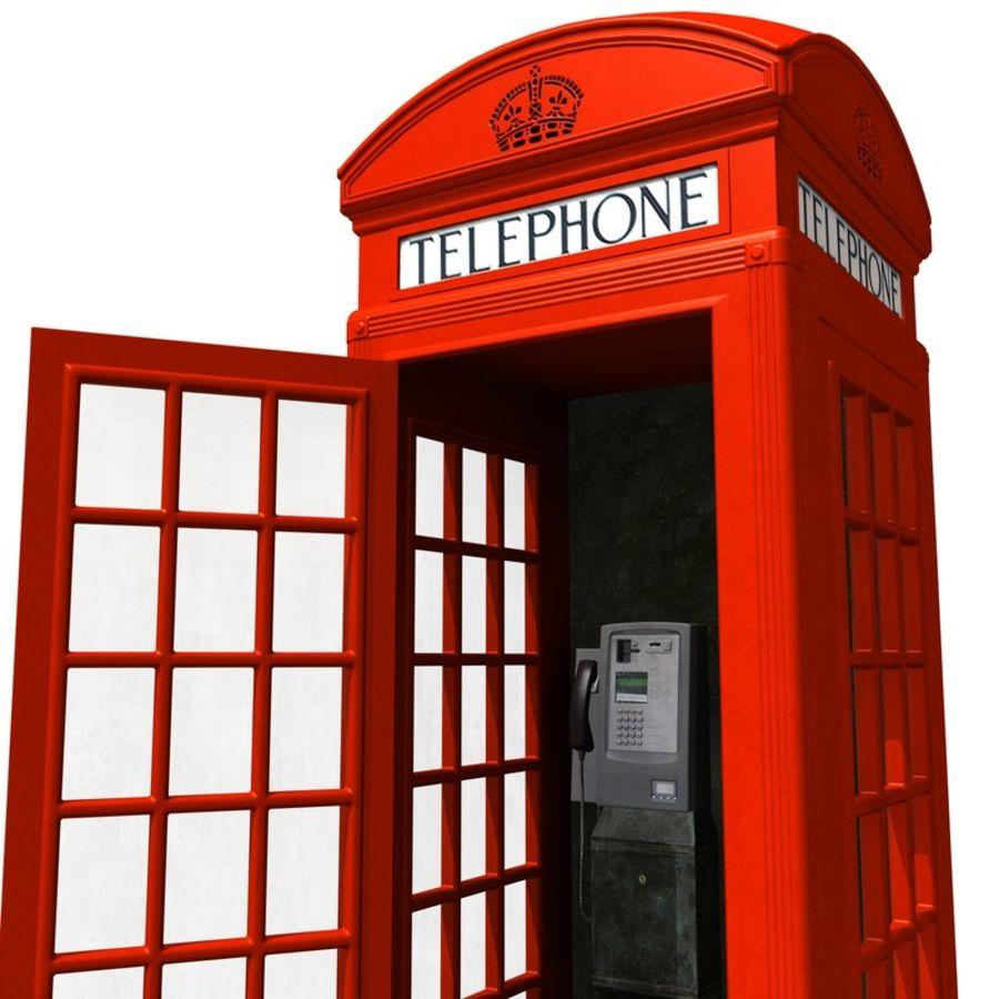 London Phone Kiosk(1) royalty-free 3d model - Preview no. 6