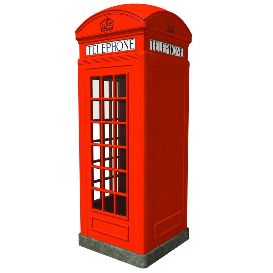 London Phone Kiosk(1) royalty-free 3d model - Preview no. 4
