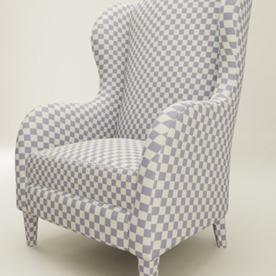 Wingback Sandalye (vray ve mr) royalty-free 3d model - Preview no. 3