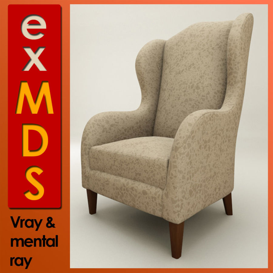 Wingback Sandalye (vray ve mr) royalty-free 3d model - Preview no. 1