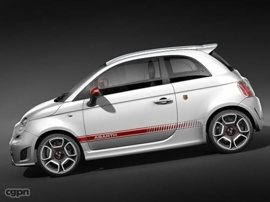 fiat 500 abarth royalty-free 3d model - Preview no. 3