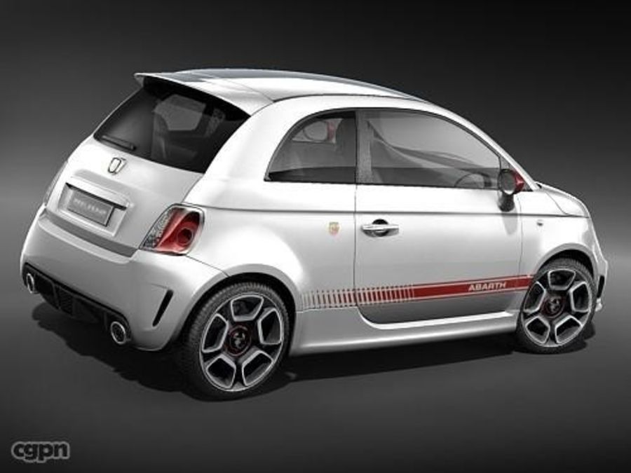 fiat 500 abarth royalty-free 3d model - Preview no. 5