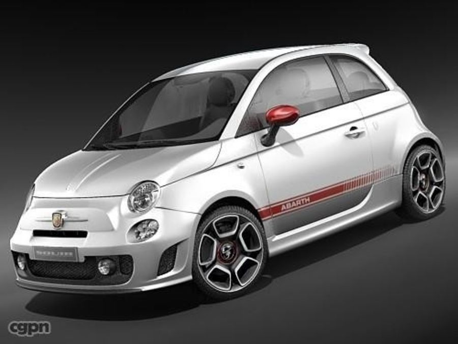 fiat 500 abarth royalty-free 3d model - Preview no. 1