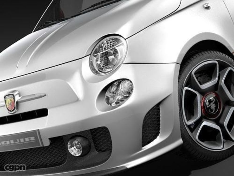 fiat 500 abarth royalty-free 3d model - Preview no. 4