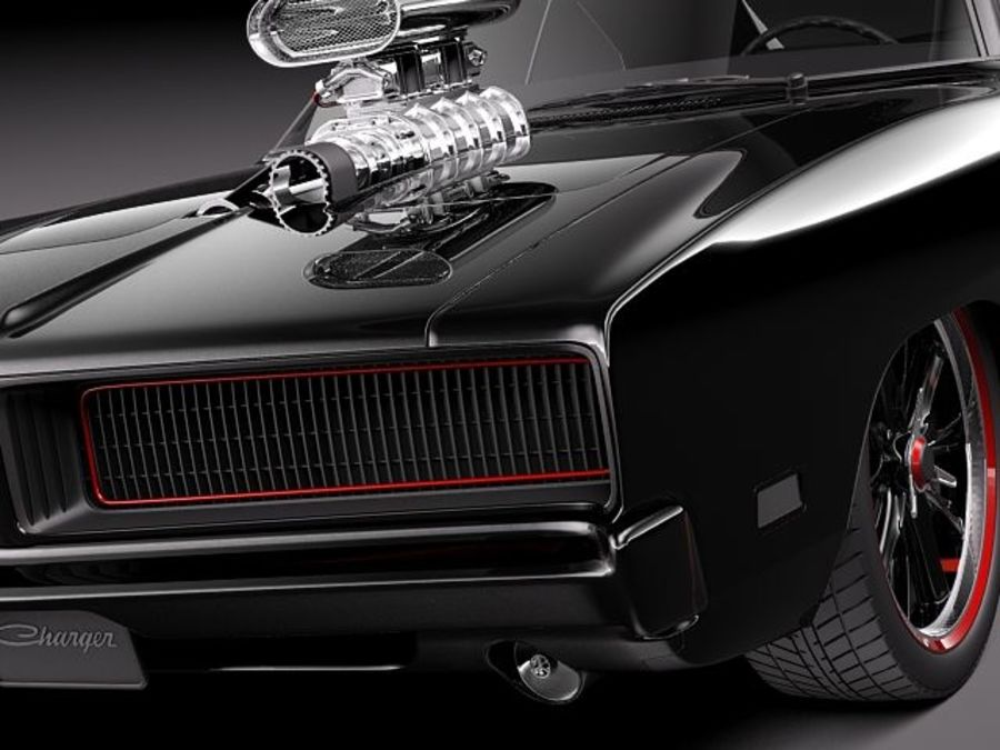 Dodge Charger 1969 custom royalty-free 3d model - Preview no. 3