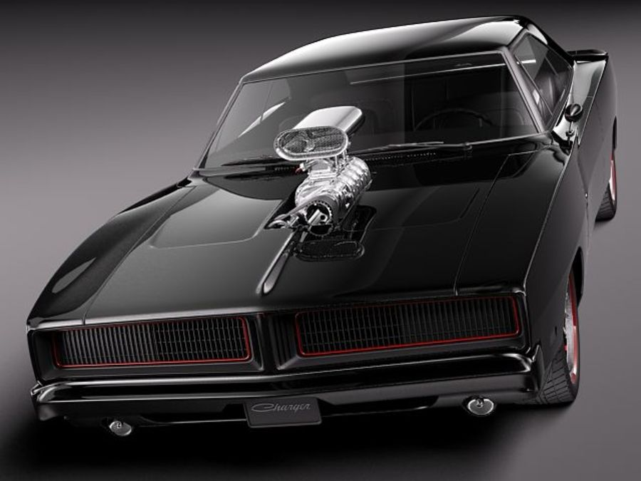 Dodge Charger 1969 custom royalty-free 3d model - Preview no. 2