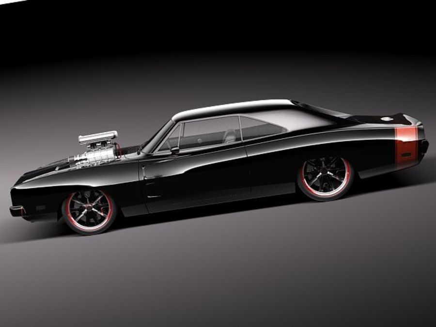 Dodge Charger 1969 custom royalty-free 3d model - Preview no. 7