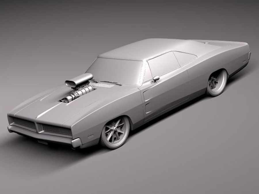 Dodge Charger 1969 custom royalty-free 3d model - Preview no. 9