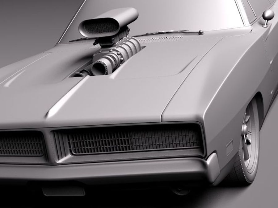 Dodge Charger 1969 custom royalty-free 3d model - Preview no. 10