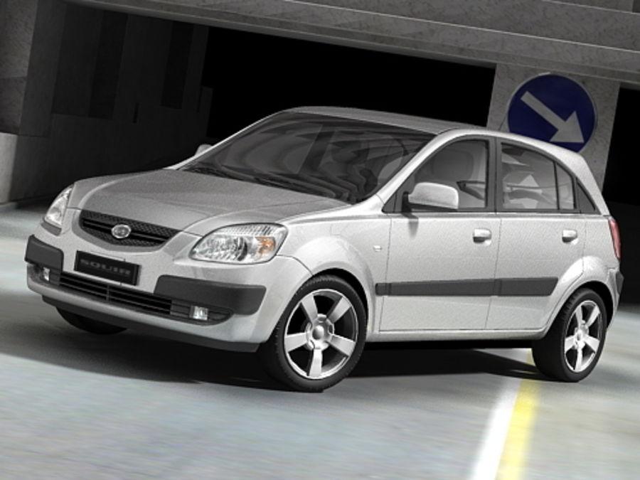 Kia Rio 2006 hatchback royalty-free 3d model - Preview no. 2