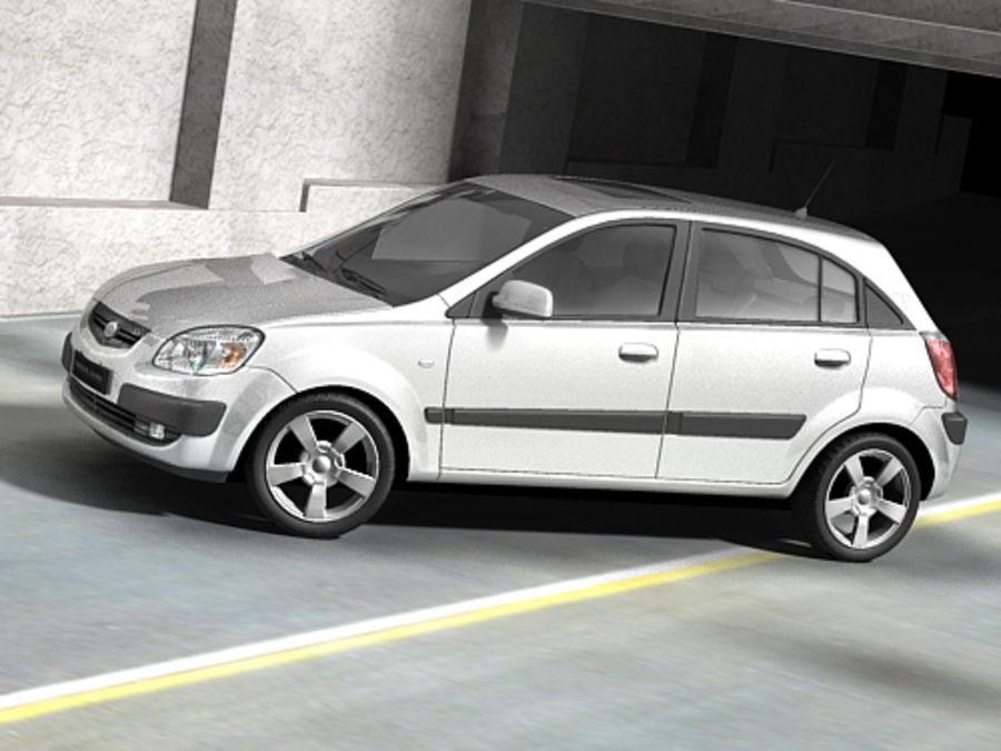 Kia Rio 2006 hatchback royalty-free 3d model - Preview no. 5