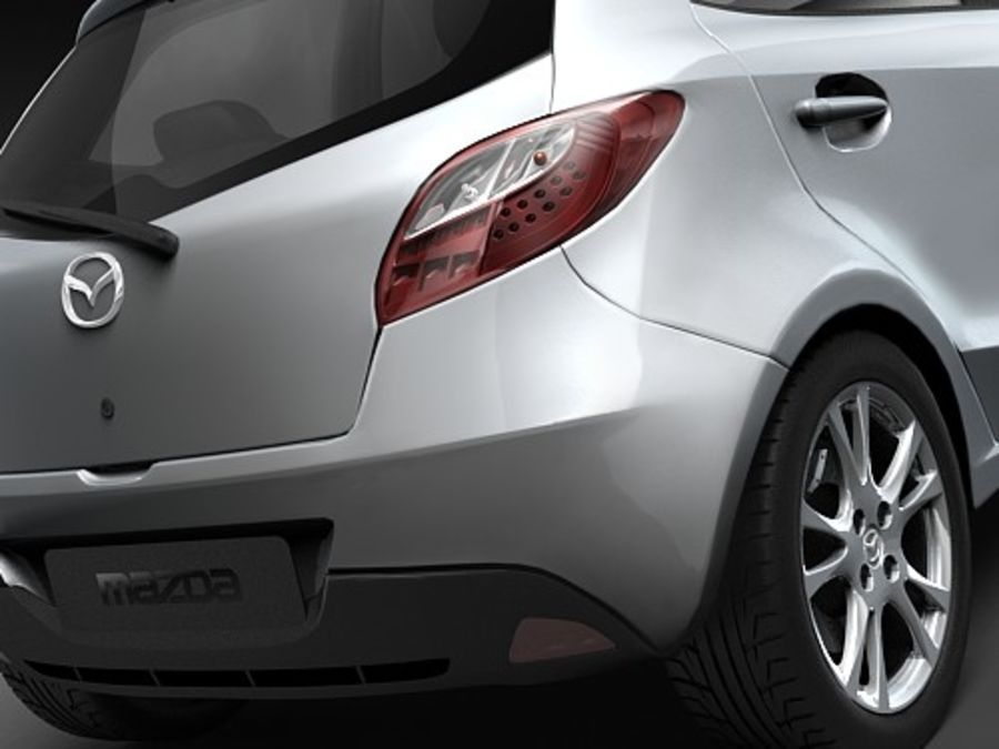 Mazda 2 2008-2010 royalty-free 3d model - Preview no. 4