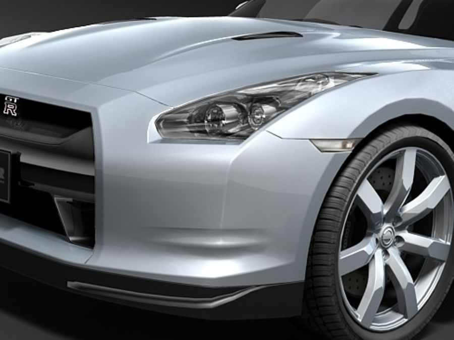 Nissan GT-R 2008 midpoly royalty-free 3d model - Preview no. 3