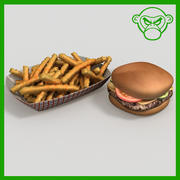 cheese burger and fries 3d model