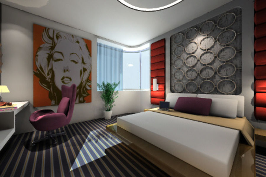 ggs_guest room_013 royalty-free 3d model - Preview no. 4