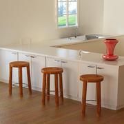 圆形木桌凳 3d model