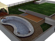 Garden with swimming pool 3d model